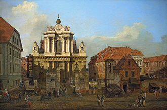 Presidential Palace, Warsaw - Carmelite Church and Radziwiłł Palace (right) in 1780, painting by Bernardo Bellotto