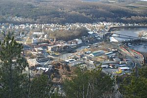 Bellows Falls, Vermont - Bellows Falls in the early spring, viewed from Fall Mountain
