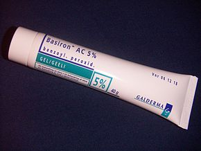 A tube of benzoyl peroxide gel