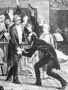 Berlioz und Paganini, zeitgenössischer Kupferstich (Quelle: Wikimedia)