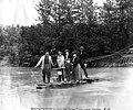 Berrying party crossing a river on a hand drawn ferry near Valdez, Alaska, August 1906 (AL+CA 4795).jpg
