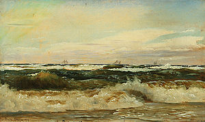Christian Blache - Christian Blache: Sailboats on the sea, view from the beach in Skagen (1869)
