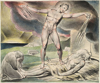 Satan - The examination of Job, Satan pours on the plagues of Job, by William Blake. Illustration was made c. 1821.