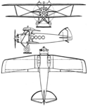 Bleriot SPAD S.56 3-view Les Ailes December 1,1927.png