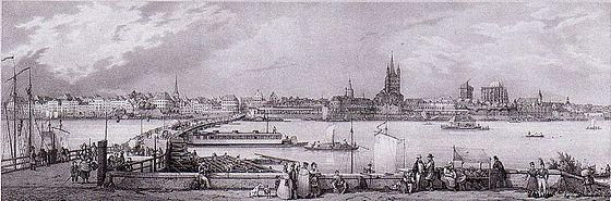 Blick von Deutz auf die Stadt Köln mit Schiffsbrücke, ca. 1840.jpg