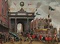 Blijde inkomst van François, hertog van Anjou (1556-1584) in Antwerpen, met de erepoort op de St. Jansbrug, 19 februari 1582 Rijksmuseum SK-A-4867.jpeg