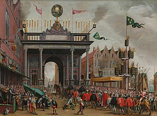 Joyous Entry of François, Duke of Anjou into Antwerp, 19 February 1582, with a Triumphal Arch on St. Jan's Bridge