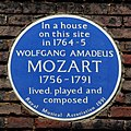 Blue plaque Mozart, 20 Frith Street, Soho, London.jpg
