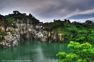Karbi Anglong district - The landscape beauty of Blue water lake at Kathalguri village in Karbi Anglong district of Assam.