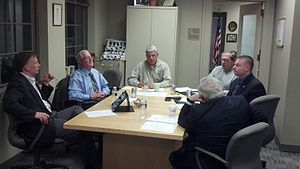 Board of selectmen - A New England town board of selectmen meeting