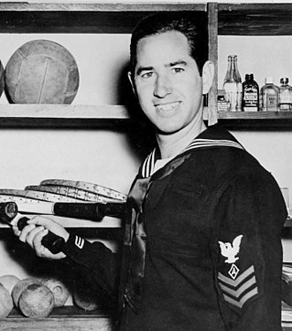 Bobby Riggs - Riggs in October 1945 at the U.S. Navy training center at Camp Elliott, after spending 20 months overseas giving tennis exhibitions at U.S. Navy bases in the Pacific.