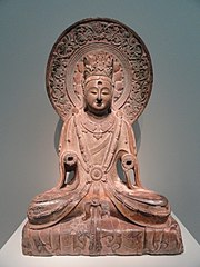 Bodhisattva, Hebei province, Fengfeng, northern Xiangtangshan Cave Temples, North Cave, Northern Qi dynasty, 550-577 AD, limestone with traces of pigment - Freer Gallery of Art - DSC05693.JPG