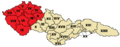 Bohemia highlighted - Electoral districts (Chamber of Deputies) in Czechoslovakia 1925, 1929, 1935 (numbered).png