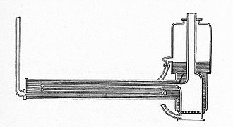 Novelty (locomotive) - Section through the boiler, firebox to the right