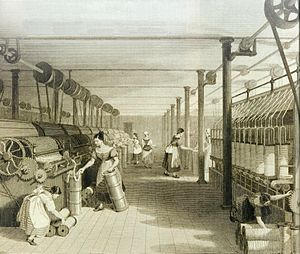 Factory Acts - Carding, roving, and drawing in a Manchester cotton mill c. 1834