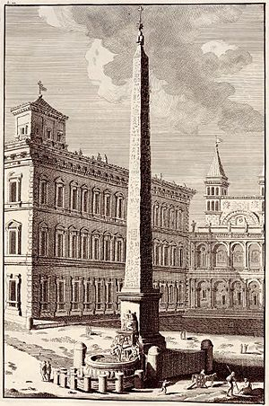 Bonaventura van Overbeek - Lateran Obelisk in Volume 2 of his Antique relics of Rome, showing the state of Domenico Fontana's fountain as it then was in 1709
