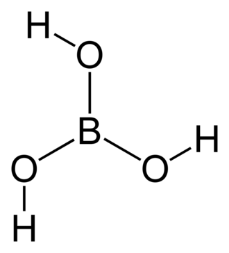 Borate - Structure of boric acid, illustrating trigonal planar molecular geometry.