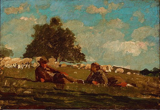 Boy and Girl in a Field With Sheep by Winslow Homer
