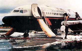 British Airtours Flight 28M - Forward section of the aircraft showing left and right escape slides deployed.