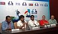 "Bramma G., Shri J. Satish Kumar and the Director of ""AN AMERICAN IN MADRAS"" (Non-Feature), Shri Karan Bali at a press conference, at the 45th International Film Festival of India (IFFI-2014), in Panaji, Goa.jpg"