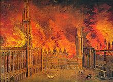 La Grand Place durante il bombardamento di Bruxelles del 1695