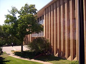 O'Neil Ford - The Braniff Graduate Center on the campus of the University of Dallas in Irving, Texas. The building was designed by O'Neil Ford.