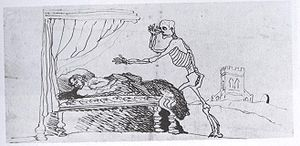 Branwell Brontë -  Self caricature of Branwell (1847) in bed waiting to die.