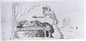 Branwell Brontë -  Self caricature of Branwell (1847) in bed waiting to die.