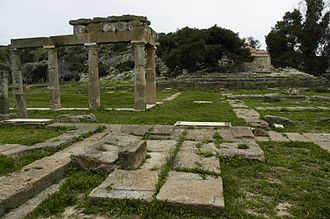 Brauron - View of the platform of the temple, looking south across the stoa.