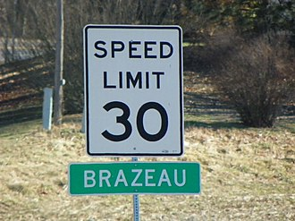 Brazeau, Missouri - Brazeau, Missouri, road sign
