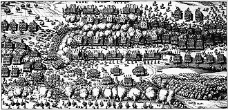 Battle of Breitenfeld (1631) - Contemporary etching of troop disposition at the beginning of the Battle of Breitenfeld (1631), painting in the Musée historique de Strasbourg.