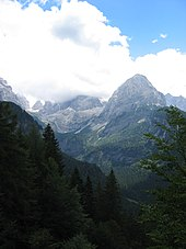 The Dolomites around Madonna di Campiglio, where stage 15 finished Brenta group and Brenta valley from NW.jpg