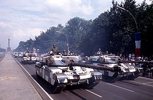 14th/20th King's Hussars - Chieftain tanks of 14th/20th King's Hussars on parade in urban camouflage, Straße des 17. Juni, West Berlin, 18 June 1989