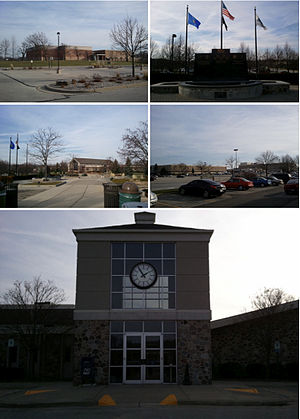 Brookfield, Wisconsin - From top left clockwise: Brookfield Central High School, Veterans Memorial Fountain, Brookfield Square Mall, Brookfield City Hall, and the Brookfield Safety Building