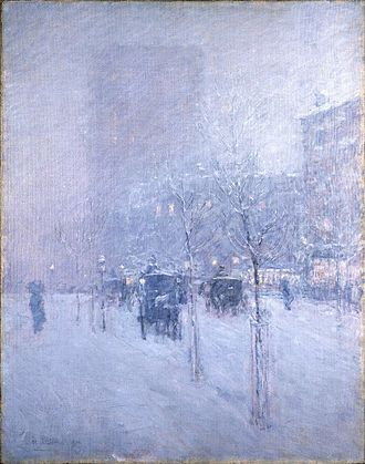 Childe Hassam - Late Afternoon, New York, Winter, c. 1900. Brooklyn Museum