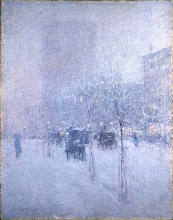 Brooklyn Museum - Late Afternoon, New York, Winter - Frederick Childe Hassam - overall