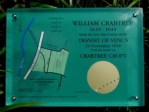Transit of Venus, 1639 - Plaque commemorating Crabtree's observation near his home in Broughton