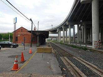 Buffalo–Exchange Street station - Exchange Street station platform in June 2018.