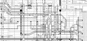 Mechanical systems drawing - An excerpt from a coordinated working drawing at 1:50 scale