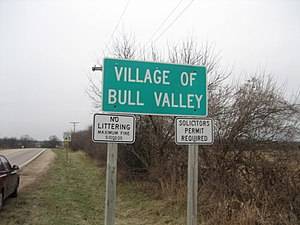 Signage marking village. Bull Valley, Illinois...