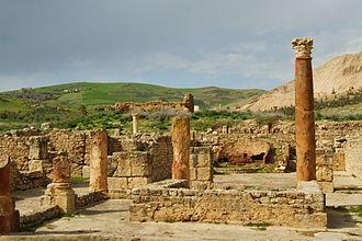 Khroumire - Roman city of Bulla Regia, near Jendouba, Tunisia with the Kroumirie mountains in background.