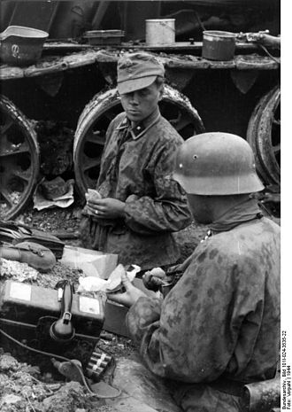 3rd SS Panzer Division Totenkopf - Men of the Totenkopf break for a meal beside the wreck of a Soviet T-34 somewhere in Romania, 1944.