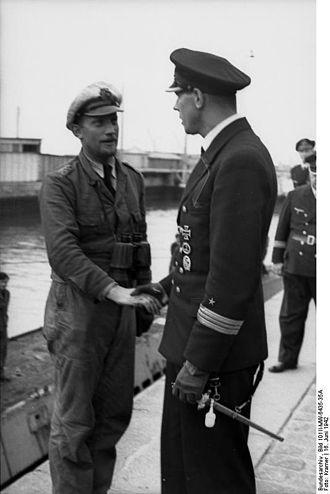 Herbert Sohler - St. Nazaire, France.- U-455 landing. Left: KaptLt Hans-Heinrich Giessler, Right: KaptLt Herbert Sohler