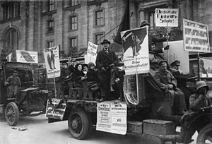 History of the Social Democratic Party of Germany - SPD activists calling for the National Assembly elections in 1919