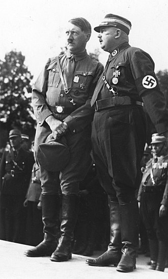 "Timeline of events preceding World War II - ""Long knives"" victim Ernst Röhm with Hitler, August 1933"