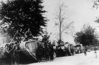 Second Battle of the Marne - Captured British Mark IV tanks used by German troops