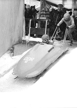 Horst Schönau - Schönau (seated in sled) in 1979.
