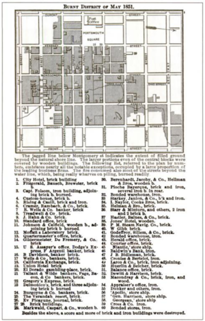 San Francisco Fire of 1851 - Map of the area burned in the fire of May 1851.