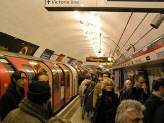Oxford Circus tube station - The busy Central line platform, as seen in December 2004, showing its narrow width.