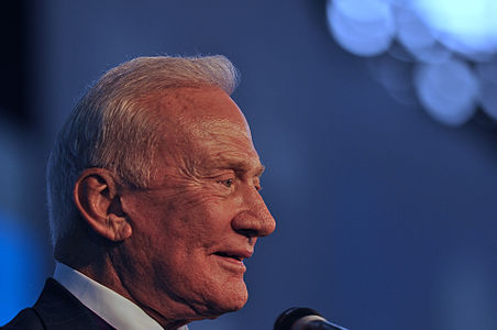 Buzz Aldrin during his presentation at Campus Party 2013 in Sao Paulo, Brazil.
